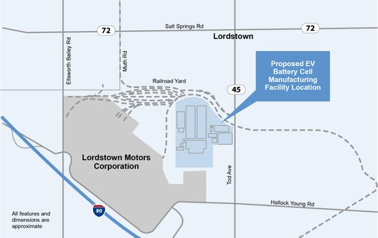The 158-acre site that General Motors plans to buy and build a new battery plant for electric vehicles. The site is adjacent to GM's former Lordstown Assembly plant in Lordstown, Ohio.