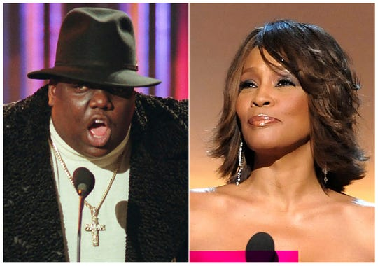 Notorious B.I.G., who won rap artist and rap single of the year, during the annual Billboard Music Awards in New York on Dec. 6, 1995, and singer Whitney Houston at the BET Honors in Washington on Jan. 17, 2009. The pair will be inducted into the Rock and Roll Hall of Fame's 2020 class.