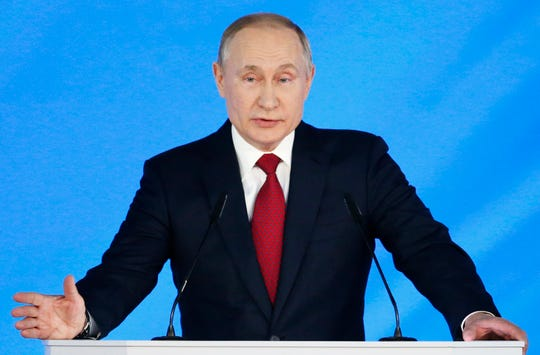 Russian President Vladimir Putin addresses the State Council in Moscow, Russia on Wednesday.
