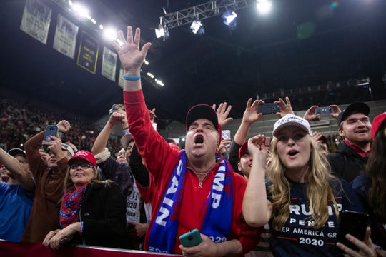 Supporters of President Donald Trump cheer as he arrives for a campaign rally at UW-Milwaukee Panther Arena, Tuesday, Jan. 14, 2020, in Milwaukee.