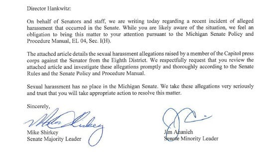 The leaders of the Michigan Senate are asking the Senate Business Office to investigate Sen. Peter Lucido's comments to a female reporter.