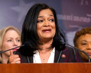 Rep. Pramila Jayapal, D-Wash. speaks during a news conference on a measure limiting President Donald Trump's ability to take military action against Iran, on Capitol Hill, in Washington, Thursday, Jan. 9, 2020.