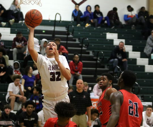 Devin Dennard of Elmira goes up for a shot in an 84-75 loss to Binghamton in boys basketball Jan. 14, 2020 at Elmira High School.