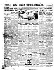 A copy of The Daily Commonwealth from June 24, 1914 reports on storm that hit Rosendale and Green Lake and a tornado near Oshkosh.