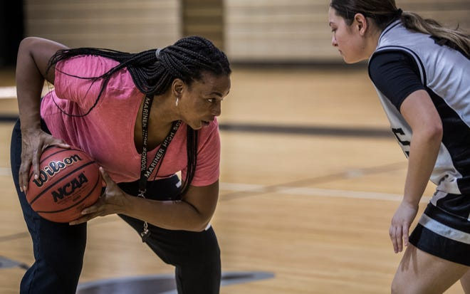 Mariner girls basketball coach LaTanya Jones conducts practice drills Tuesday afternoon, January 14, 2020. The Mariner High School girls basketball team is off to a 14-3 start, which includes a buzzer-beating win over Fort Myers last week.