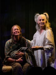 "Carolyn Messina and Sara Morsey as goats in Florida Rep's ""Alabaster."""