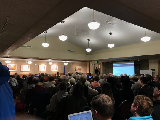 Tuesday night's Sevastopol Plan Commission meeting drew a full house, causing many to be diverted to watch its livestream at a nearby bar, to watch the board vote no on the Quarry Bluff, LLC's conditional use permit.