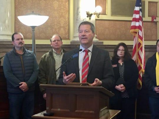State Sen. Al Olszewski, R-Kalispell, talks Wednesday about the Montana Water Rights Protection Act.