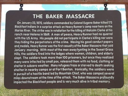 Look for this roadside sign when driving to the Baker Massacre commemoration site. Turn right after seeing the sign, and follow the additional roadside markers to reach the commemoration.