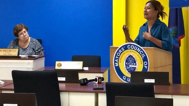 Federated States of Micronesia Consul General Teresa Filepin addresses mayors about plans to address problem members of the FSM community, during a Jan. 15, 2020 Mayors' Council of Guam special meeting. Looking on is Inarajan Mayor Doris Lujan.
