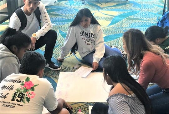 High school students prepare for the Guardians of the Reef program at Outrigger Beach Resort, Tumon, Guam on January 12, 2019.