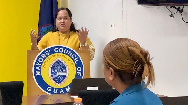 Speaker Tina Muña Barnes gestures as she addresses mayors and guests about bills that seek to address a leadership void in Yona and other suggestions to help the village, during a Jan. 15, 2020 special meeting of the Mayors' Council of Guam.