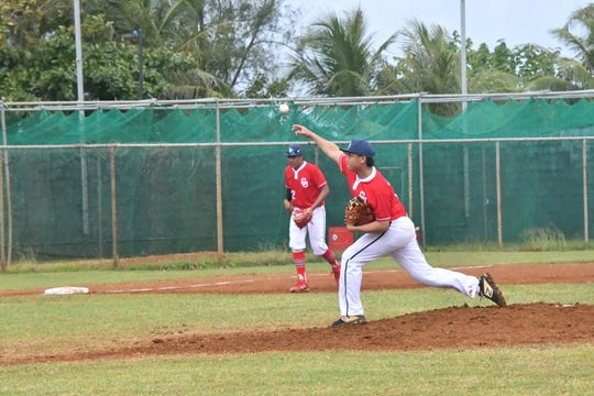 Team Guam pitcher Andrew Perez throws against the CNMI in their WBSC U-15 Oceania Qualifier, held Jan. 15 at the Paseo Stadium. Guam won the game 9-5 in seven innings.