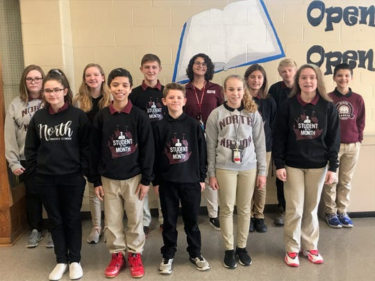 The North Middle Schools Students of the Month for December 2019 are, front row from left, Lillian Cusic, Jordan Cummings Roller, Grey Busby, Ella Whitledge, Jazlynn O'Leary. Back row from left, Ayla Jones, Madison Hamby, Ben Frederick, Daelynn Carver, Miles Gugel, Aiden McHatton, Chaz Audas.