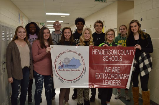 The HCHS Students of the Month for December 2019 are, front row from left,  Aaliya Settle, Reagan Campbell, Cadence McAtee, Addison Clark, Kaytlan Kemp, Jordan Troutman. Back row from left, Sanaa Jackson, Jacob Eblen, Stephan McGuire, Luke Fulkerson, Emmi Kirtley. Not Pictured: Emma Alves.