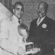 From 1952: Drake football star Johnny Bright, left, and former Iowa football All-American Duke Slater have their photo taken after a banquet honoring Bright as 1951's outstanding Iowa athlete.
