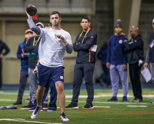 Tommy Rees throws to players during Notre Dame Pro Day on March 20 inside the Loftus Center at Notre Dame.