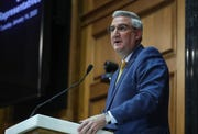 Gov. Eric Holcomb delivers the State of the State address at the Indiana Statehouse in Indianapolis on Tuesday, Jan. 14, 2020.