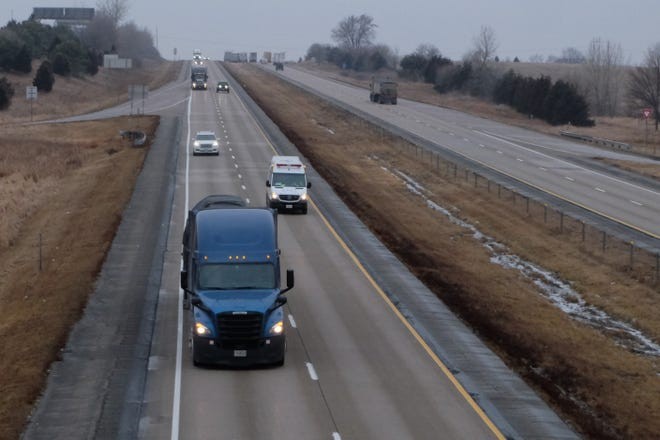 A view of Interstate 80 looking west from the West Branch, Iowa exit on January 15, 2020.