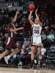 Chloe Bibby (55) was a 3-point shooting specialist for Mississippi State. She's transferring to Maryland to continue her career.