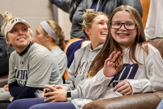 Jada Watson laughs while waiting to sign her national letter of intent with UTM softball on Monday.
