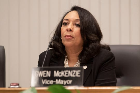 Gwen McKenzie, city councilwoman for the 6th District and vice-mayor during the City of Knoxville's first council meeting with new mayor and council members at the City County Building on Tuesday, January 14, 2020.