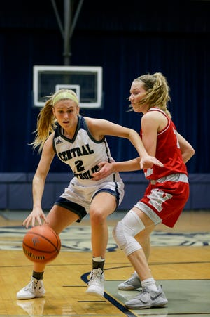Central Catholic's Caroline Lutz (2) dribbles against West Lafayette's Kennedy Martin (22) during the second quarter of an IHSAA girl's basketball game, Tuesday, Jan. 14, 2020 in Lafayette.