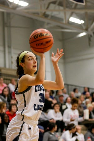 Caitlin Dineen finished with 11 points in Central Catholic's sectional-opening win against Clinton Prairie.