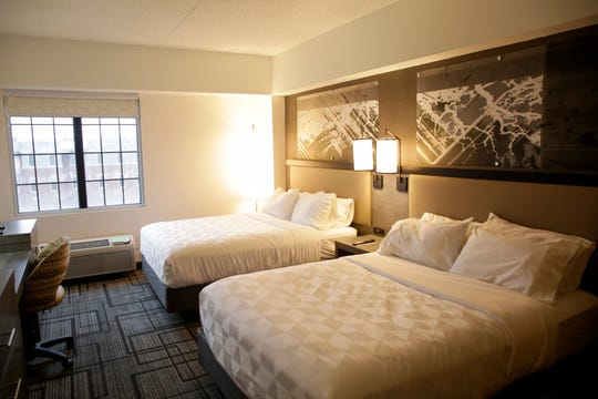 Inside a double queen bed room at the Holiday Inn Lafayette-City Centre, Wednesday, Jan. 15, 2020 in Lafayette.