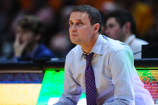 Jan 4, 2020; Knoxville, Tennessee, USA; LSU Tigers head coach Will Wade coaching during the second half against the Tennessee Volunteers at Thompson-Boling Arena. Mandatory Credit: Bryan Lynn-USA TODAY Sports