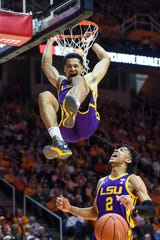 Jan 4, 2020; Knoxville, Tennessee, USA; LSU Tigers guard Skylar Mays (4) dunks the ball during the second half against the Tennessee Volunteers at Thompson-Boling Arena. Mandatory Credit: Bryan Lynn-USA TODAY Sports