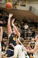 Chase Ekonen (45) hit the game-winning basket for Hartland in a 45-43 victory over Brighton.