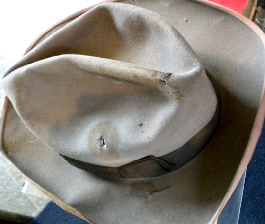 The hat worn by Sen. Warren Hooper, R-Albion, at the time of his assassination  is held at the Michigan State Archives in Lansing.