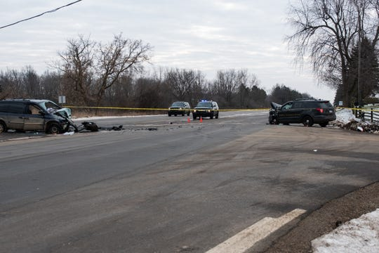A DeWitt Township police officer was involved in a head-on crash in Olive Township in Clinton County Wednesday, Jan. 15, 2020 and police said a woman fleeing Laingsburg police in a van struck the officer head-on.