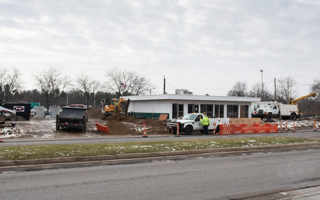 Construction seen Wednesday, Jan. 15, 2020, on Trowbridge Road. Formerly the site of a Quality Dairy, the building will be renovated.