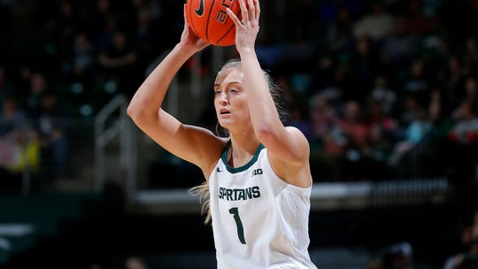 Michigan State's Tory Ozment plays against Wisconsin during an NCAA women's basketball game on Sunday, Jan. 12, 2020, in East Lansing, Mich. (AP Photo/Al Goldis)