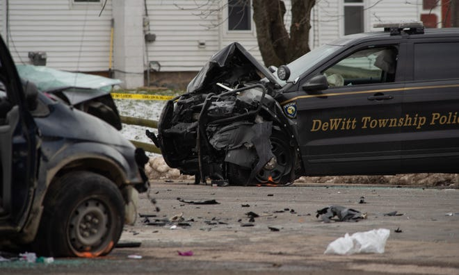 DeWitt Township police officer Robert Stump was struck head-on by a woman fleeing police in Olive Township in Clinton County Wednesday, Jan. 15, 2020. She has been charged with attempted murder.