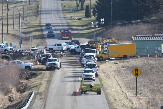 The intersection of U.S. 42 and Hanley Road was still congested Wednesday as repairs continue on the Columbia Gas station after the Saturday afternoon incident.