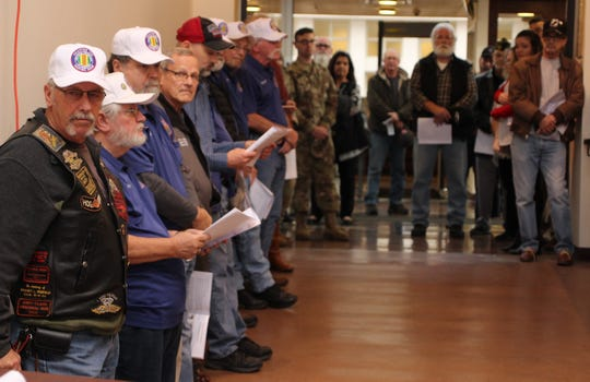 Numerous Marion County veterans attended the dedication of the Vietnam Veterans Memorial on Tuesday. It is located inside the Marion County Building in downtown Marion.
