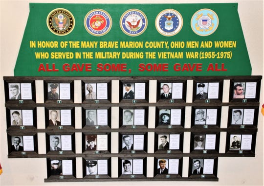 Photos of the 26 Marion County men killed during the Vietnam War adorn the memorial now on display at the Marion County Building. It's located in the ground floor corridor that leads to the Engineer's Office, Treasurer's Office, Auditor's Office, and Board of Elections.