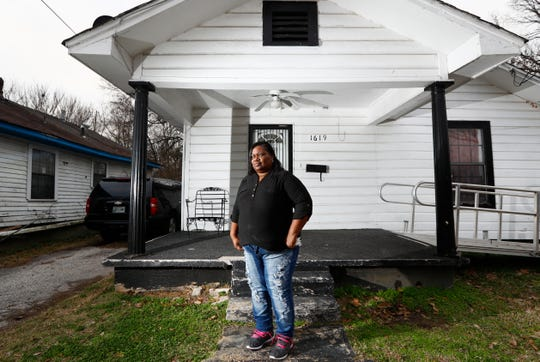 Tamara Hendrix, stands outside of her North Memphis home on Tuesday, Jan. 14, 2020. Hendrix, who was formerly homeless, now works with the group Homeless Organizing for Power & Equality, a project of the Mid-South Peace and Justice Center.