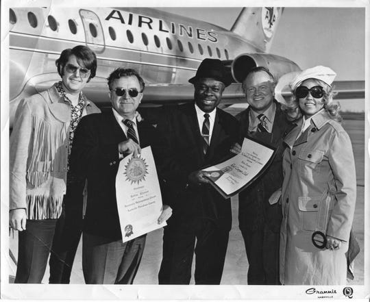Bettye Berger, far right, is pictured with Stax star Rufus Thomas, center, in 1971.