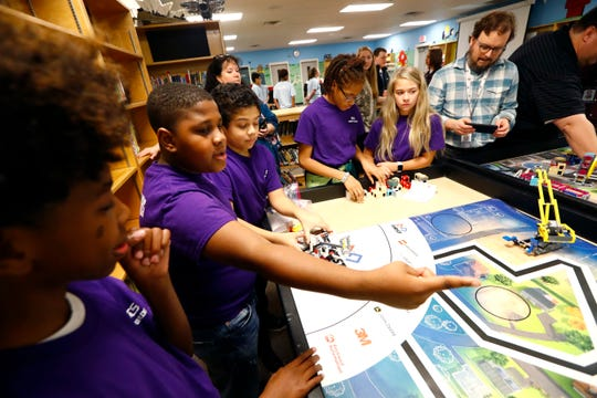 Robotics lab students Tabari Mays, 11, from left, Jeremiah Coleman, 11, Aiden Bosanto, 11, M'Kaila Hill, 12, and Lauren Allen, 11, demonstrate the skills test navigated by their robot, named Kermit, for the Lego robotics team, one of eight that have qualified for regionals from Barret's Chapel in Arlington on Wednesday, Jan. 15, 2020.