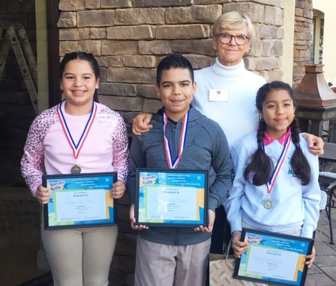 Kiwanis Club of Marco Island met on Jan 9 and welcomed some Terrific Kids from the 4th grade at Manatee Elementary. Above: Jasmine Pina, Josue Alarcon-Osario and Jeancy Velasquez with member Kathleen Reynolds.