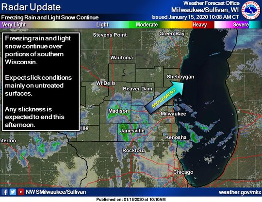 National Weather Service radar continued to show areas of snow and freezing drizzle moving through southern Wisconsin on Wednesday.