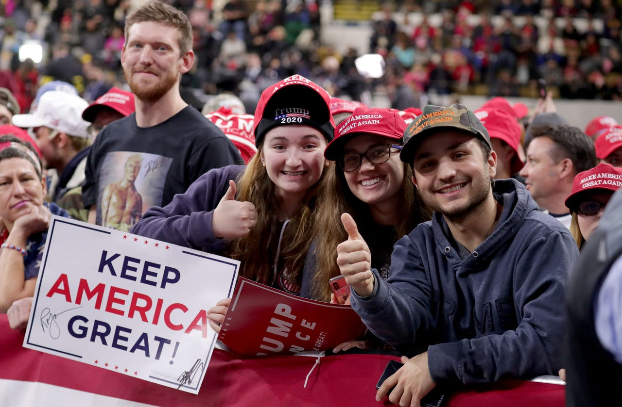 People wait for President Donald Trump to  speak at the UW-Milwaukee Panther Arena where the president held a campaign rally in Milwaukee on Tuesday, Jan. 14, 2020.