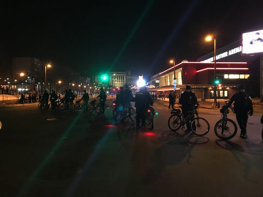 Law enforcement and protesters outside the Trump rally in Milwaukee on Jan. 14, 2020.