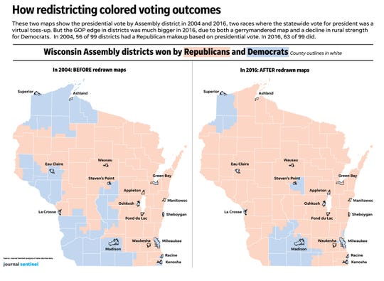 The maps show how partisan representation in the Wisconsin Assembly changed after redistricting.