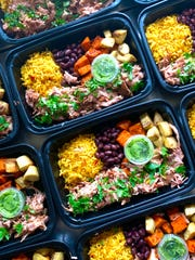 Some of the meals Austin Vetter prepares weekly for Freshchef Meal Prep are ready to go. Meals are prepared and delivered in the Milwaukee area each Monday. New menus are released every Tuesday.