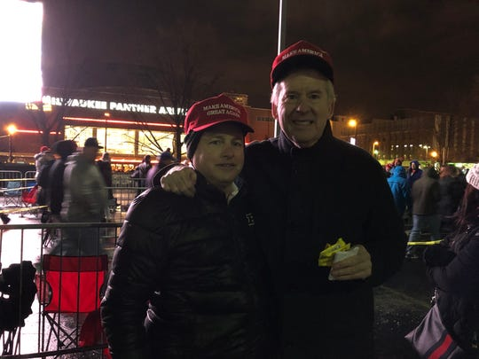 Jeff Tolbert, left, and Sean Knight of Hinsdale, Illinois, drove north to see President Donald Trump at his Jan. 14, 2020 rally in Milwaukee